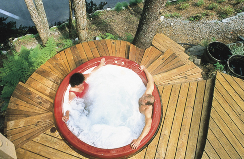 Hot tub at Pearson's Pond Luxury Inn and Adventure Spa.
