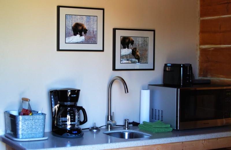 Cabin kitchen at Sleepy Bear Cabins.