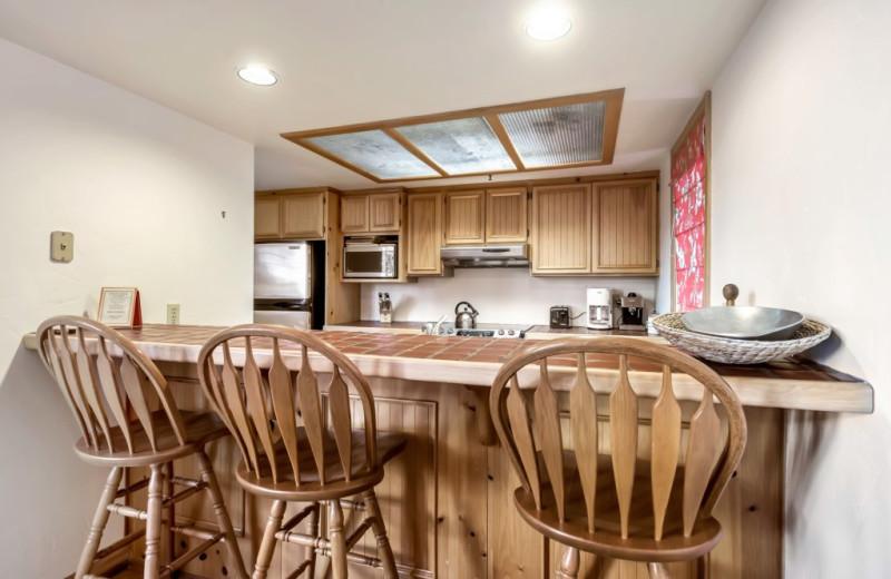 Rental kitchen at Canyon Services Vacation Rentals.