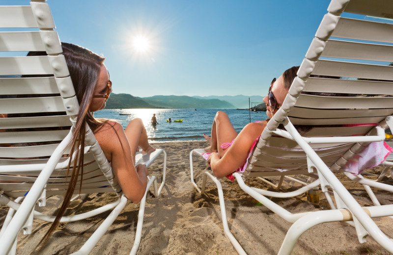 Lounging on the beach at Campbell's Resort on Lake Chelan.