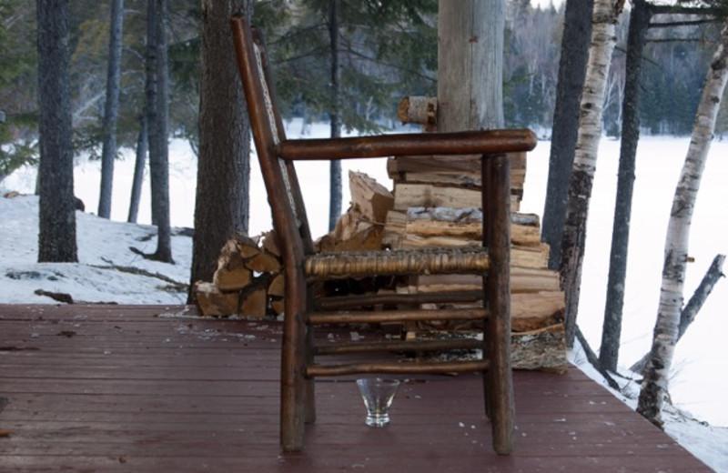 Cabin deck at The Birches Resort.
