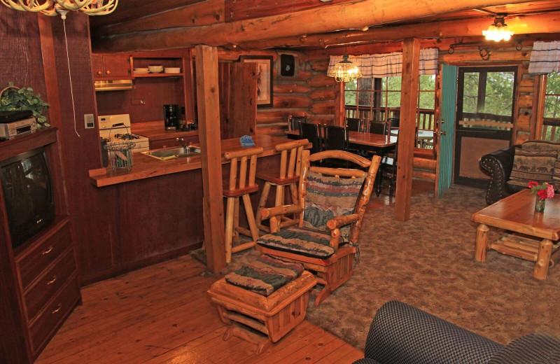 Cabin interior at Pine River Lodge.