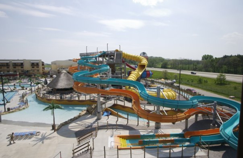 Outdoor waterpark at Kalahari Waterpark Resort Convention Center.