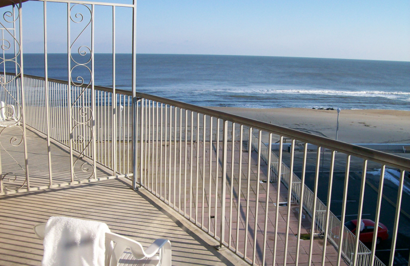 View of the beach from balcony at Grand Hotel & Spa.