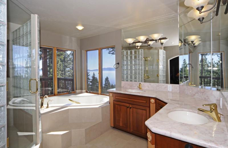 Rental bathroom at Tahoe Getaways.