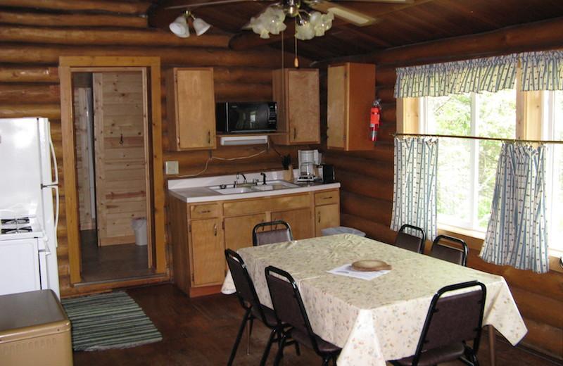 Cabin kitchen at Herseth's Tomahawk Resort.