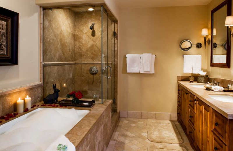 Guest bathroom at Arrabelle at Vail Square.