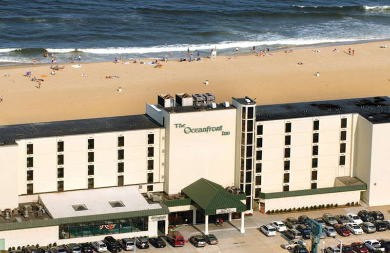 Aerial view of The Oceanfront Inn.