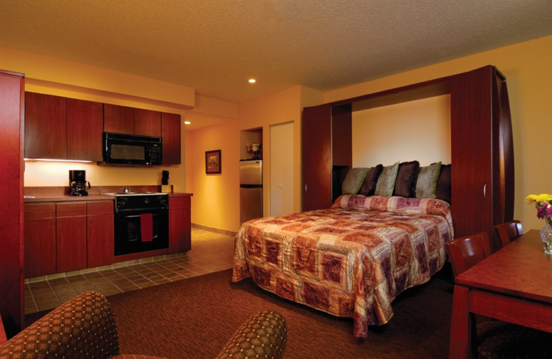 Guest room with kitchenette at Kah-Nee-Ta Resort and Spa.