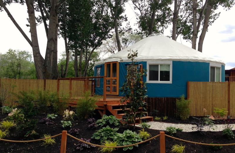 Yurt exterior at Barefoot Beach Resort.