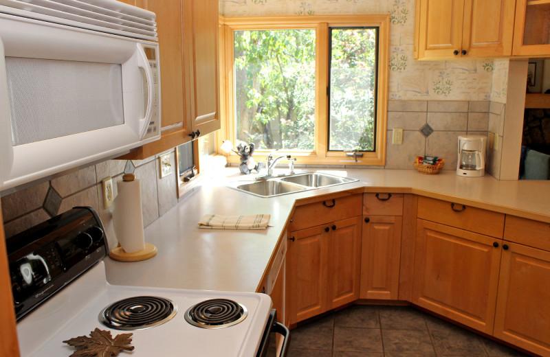 Cabin kitchen at Sunnyside Knoll Resort.