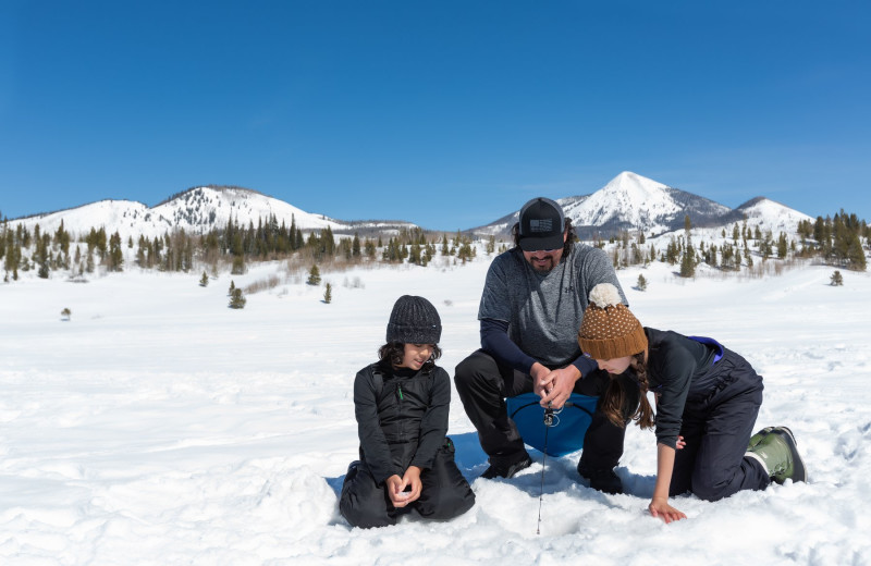 Ice fishing at Vista Verde Ranch.