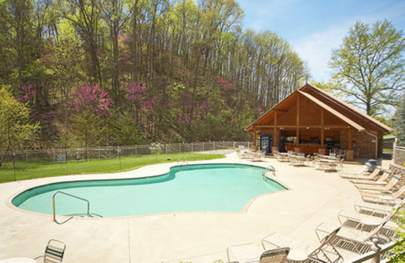 Pool view at Alpine Mountain Chalets.
