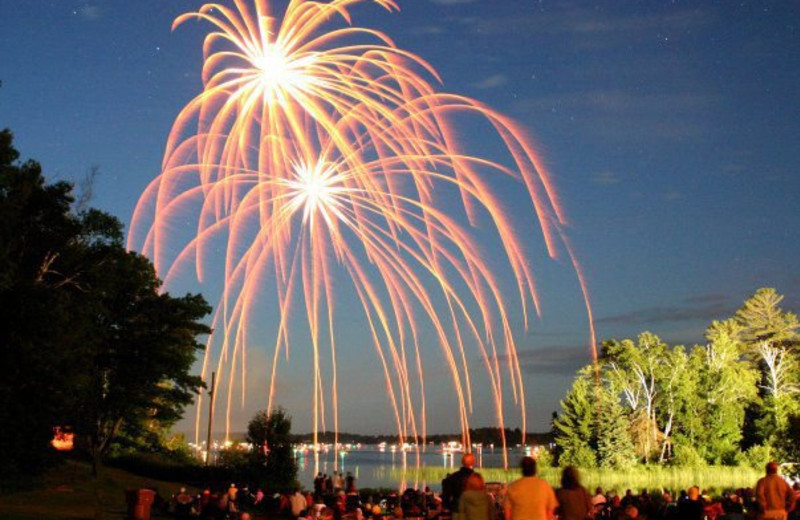 Fireworks over Lakewoods Resort.