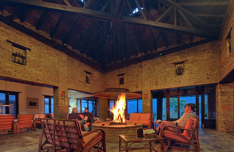 Lounge at Tiger Mountain Pokhara Lodge.