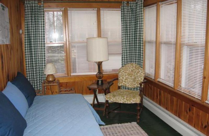 Cottage bedroom at Alder Bay Lodging.