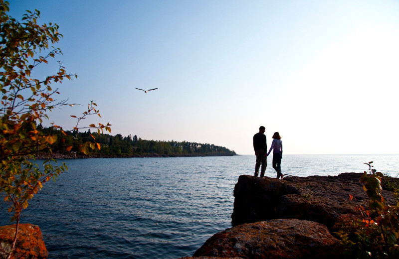 Couple at Bluefin Bay on Lake Superior.