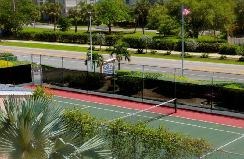 Tennis court at Sand Cay Beach Resort.