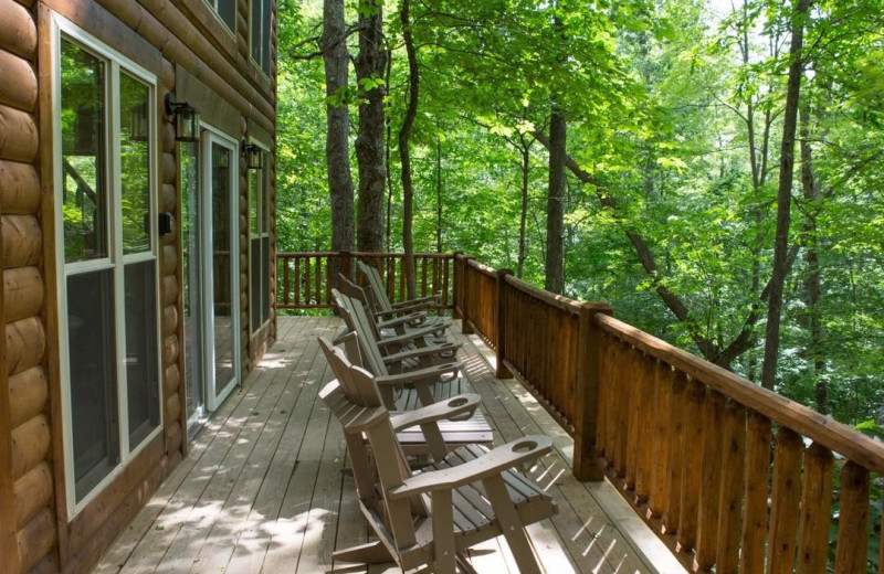 Cabin deck at Corban Cabin Getaways.