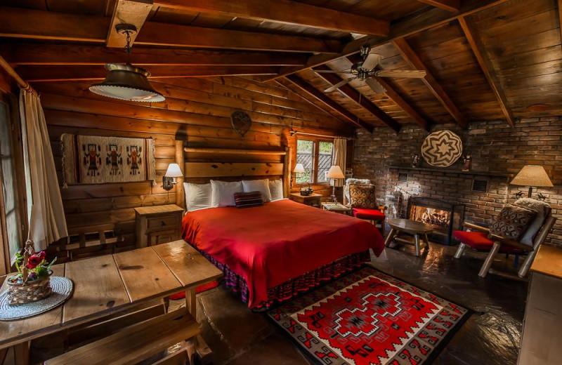 Cabin bedroom at Briar Patch Inn.