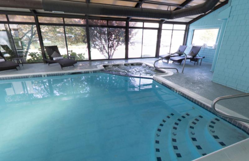 Indoor pool at Aqua Blue Hotel.