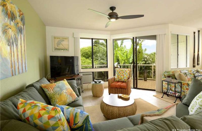 Rental living room at Vacation Rental Pros - Maui.