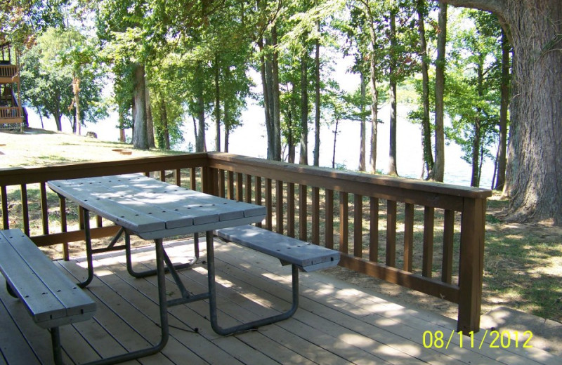 Deck picnic table at Prizer Point Marina & Resort.