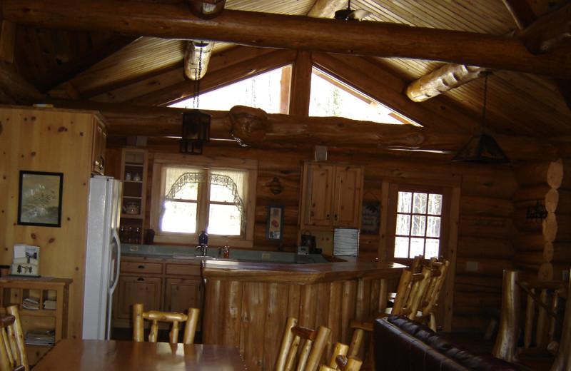 Cabin kitchen at Buckhorn on Caribou Lake.