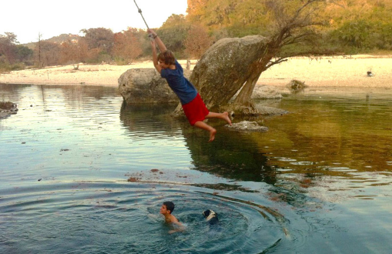 Rope swinging at Neal's Lodges.