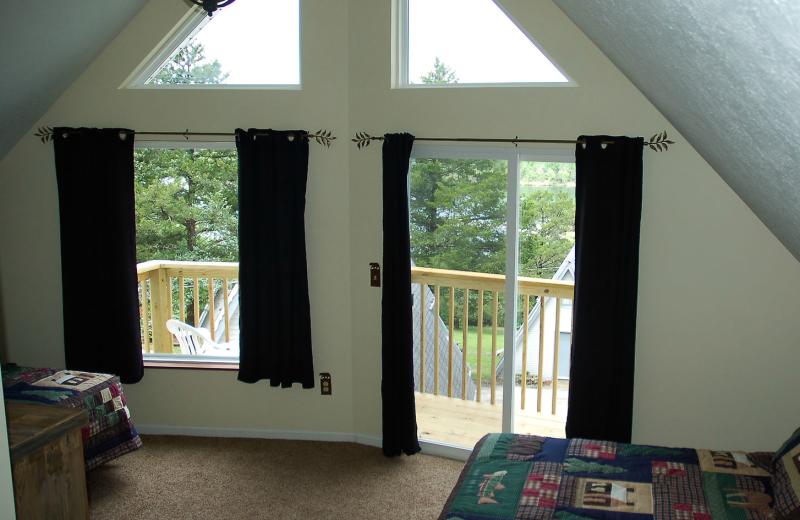 Cabin bedroom at Alpine Lodge Resort.