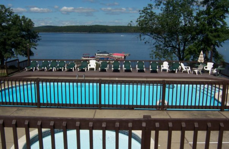 Pool and lake view at Ehrhardt's Waterfront Resort.