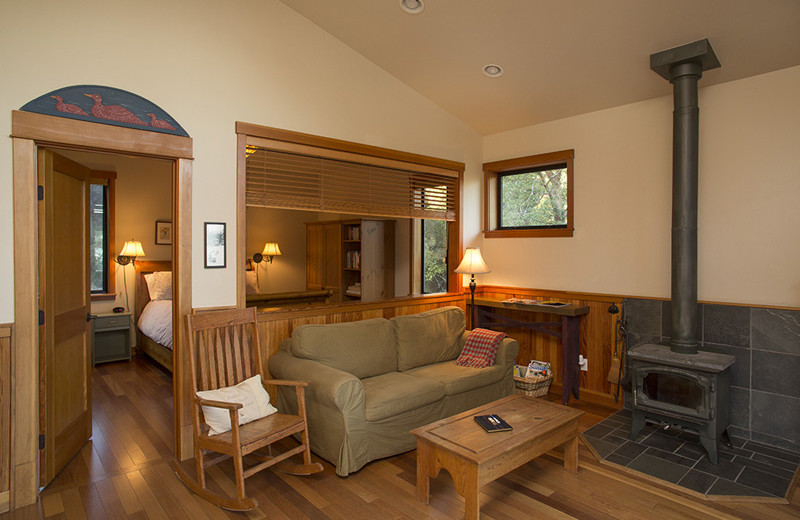 Guest living room at Pebble Cove Farm.