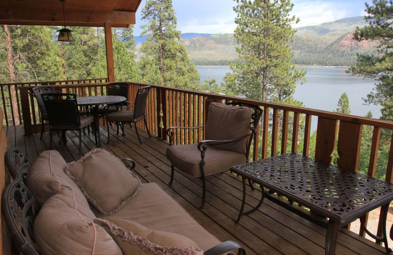 Cabin patio at Pine River Lodge.