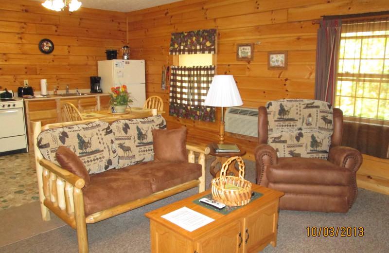 Cabin interior at Sunrise Log Cabins.