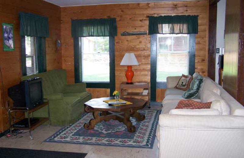 Cabin living room at Wilsons On Moosehead Lake.