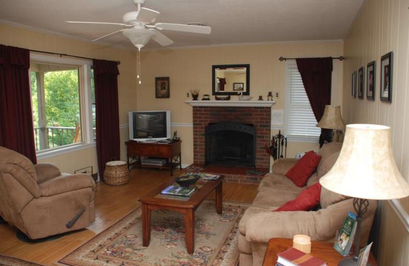 Cottage living room at Greenbrier River Retreat.