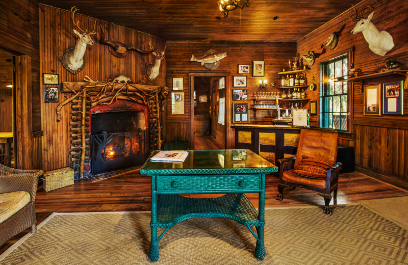 The Hunting Lodge living room at Lodge on Little St. Simons Island.