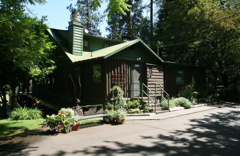 Cabin exterior at Morrison's Rogue River Lodge.