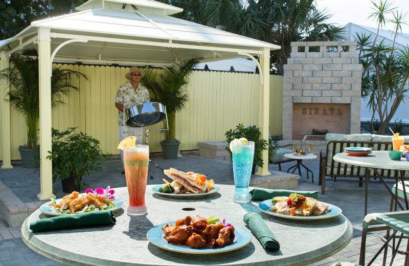 Outdoor dining patio at Sirata Beach Resort.
