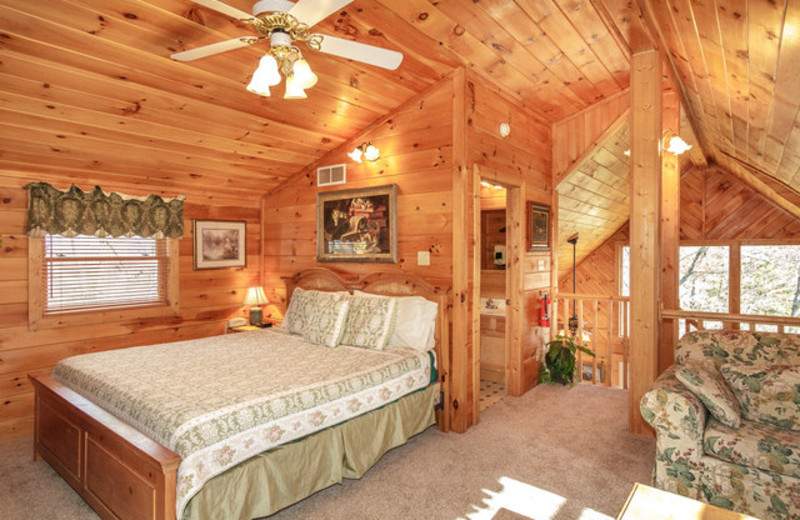 Rental bedroom at Stony Brook Cabins, LLC.