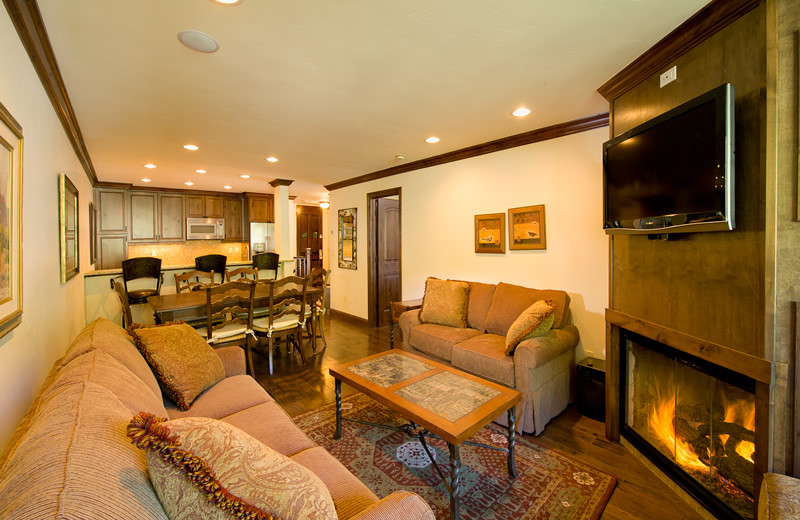 Condo living room at Vail's Mountain Haus.