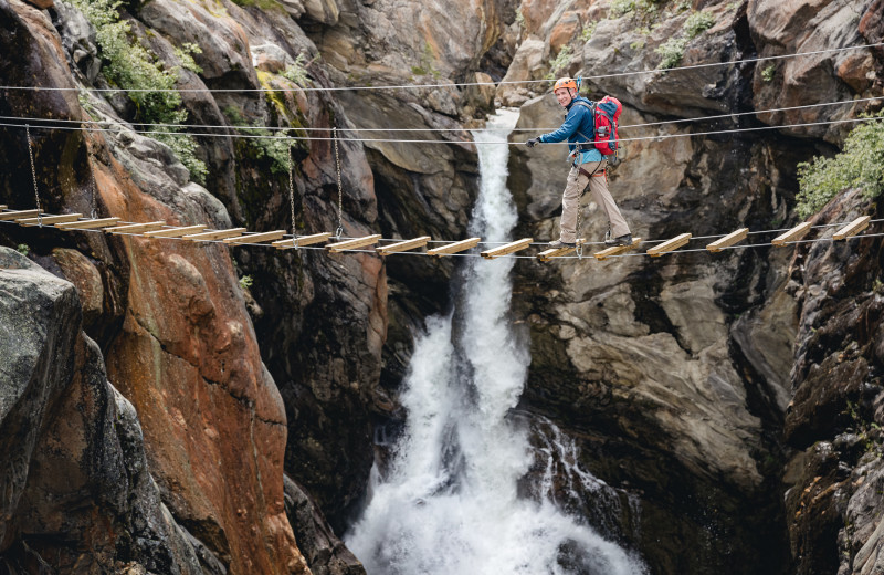 Rope bridge at CMH Cariboos Lodge.