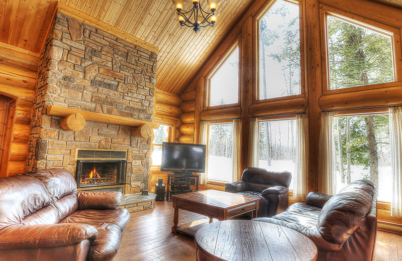 Chalet living room at Fiddler Lake Resort.