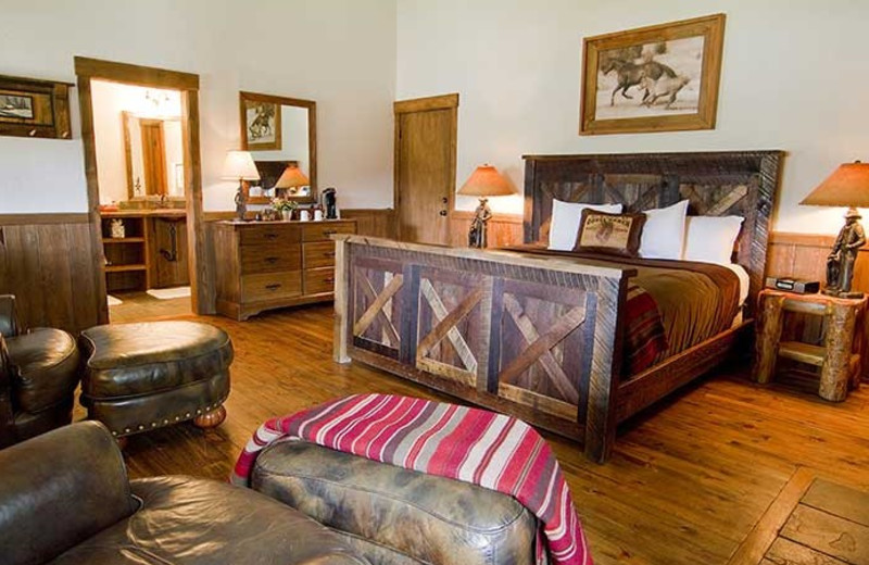 Cabin bedroom at C Lazy U Ranch.