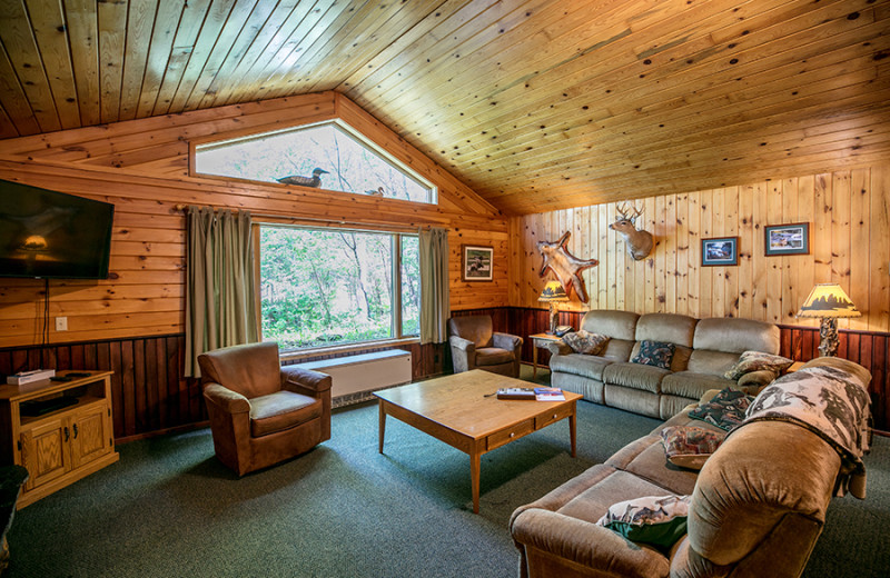 Guest living room at Gunflint Lodge.