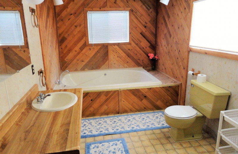 Cabin bathroom at Gypsy Villa Resort.
