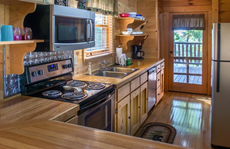 Rental kitchen at American Mountain Rentals.