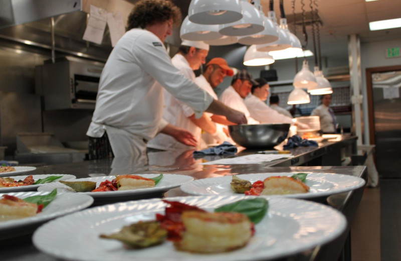 Chefs preparing at meal at Vintners Inn.