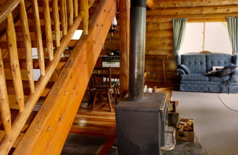 Cabin living room at Heston's Lodge.