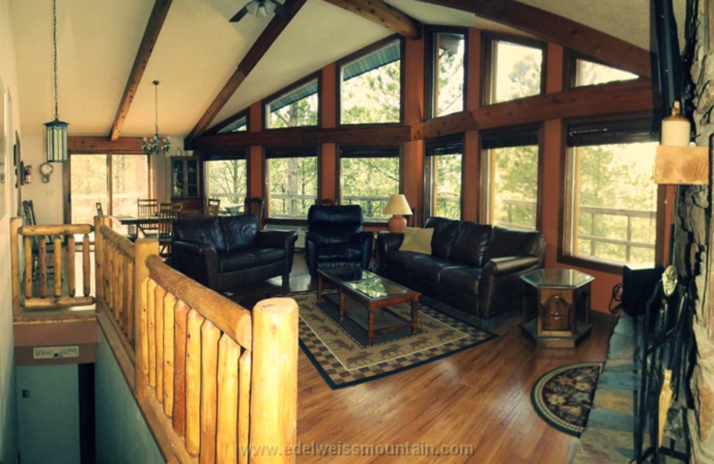 Rental living room at Edelweiss Mountain Lodging.